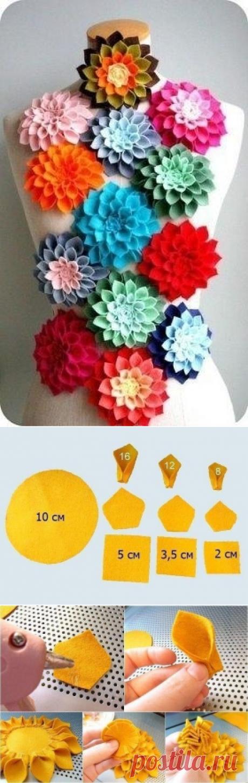 Фетровые цветы для декора — Сделай сам, идеи для творчества - DIY Ideas