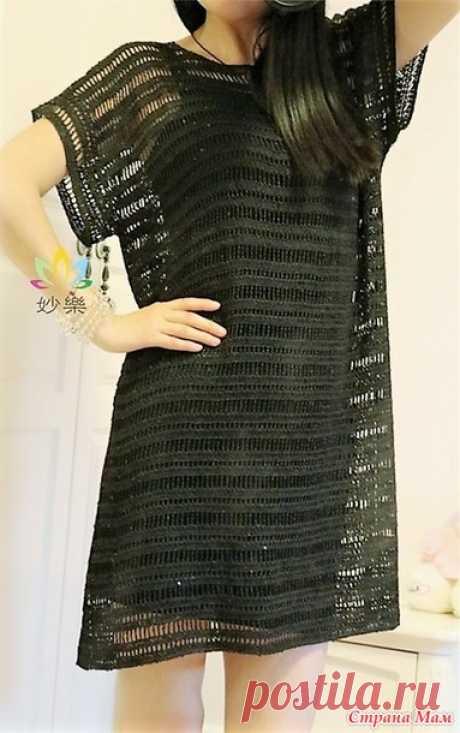 . Prostenko pero con el gusto. El vestido negro chiné. - todo en azhure... (La labor de punto por el gancho) - el País de las Mamás