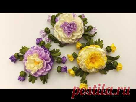 Ribbons Flower and buds.DIY/Flor con brotes de cintas/Цветок с бутонами из лент 2.5см