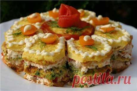 Порционный новогодний закусочный торт с сыром / Простые рецепты