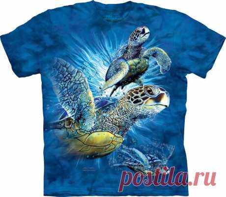 АРТ № 103515 Футболка The Mountain - Find 9 Sea Turtles Бесшовная футболка -варенка 100% хлопок Размеры Детские +  S, M, L,XL, XXL, XXXL Рисунок нанесен красками на водной основе. Не выгорает, не тянется