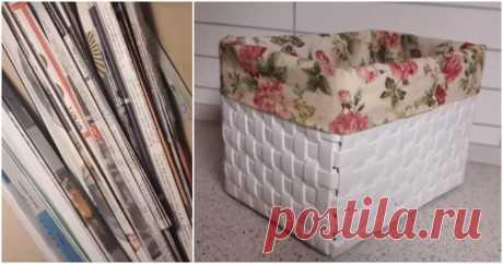 Новый и простой способ плетения корзин из газетной бумаги Эффектный, не лишенный изюминки декоративный короб органично вписывается в обстановку. Между тем собран он из того, что в обычной жизни принято отправлять на свалку. Техника сборки уникальна и до безо…