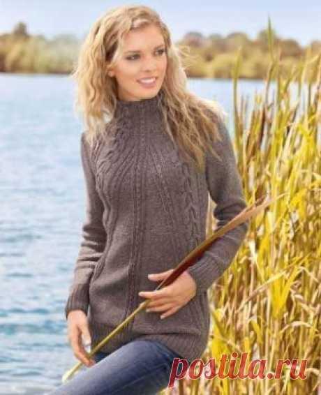 Длинный свитер Чуть удлинив перед и спинку этот свитер можно превратить в модное платье.  Размер S Обхват груди 92 см Длина 79 см Вам потребуется Пряжа (шерсть яка, мериносовая экстратонкая; ок. 130 м/50 г) 400 г коричневой; спицы №4,5 и 5. Внимание! Если вы выберете пряжу другой толщины, обязательно сделайте пробу на плотность вязания! Узоры и схемы Резинка Попеременно 1 изнаночная, 1 л