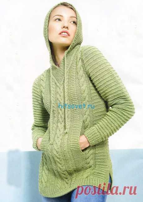 Стильный пуловер с капюшоном - Хитсовет Стильный пуловер с капюшоном. Вам потребуется: пряжа Novita 7 Veljesta (75% шерсть, 25% полиамид, 300 м/150 г) - 650(700)750(800)850 (900) светло-зеленого цвета (307), спицы №4 и №4,5.