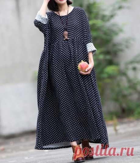 Women Cotton Maxi Dress long High waist dress Loose Fitting   Etsy
