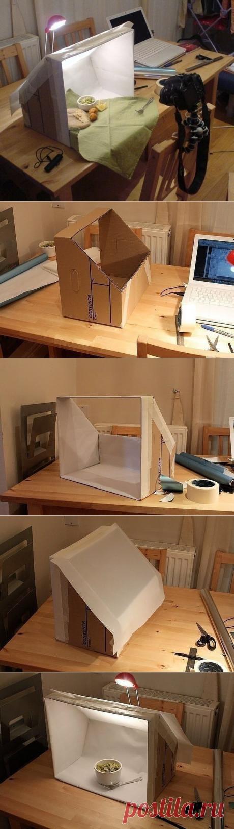 Лайтбокс из картонной коробки для фотографирования своих работ.