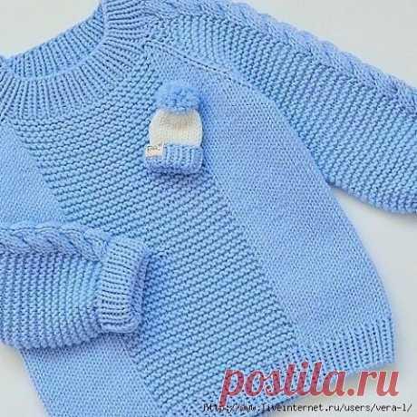 Детский пуловер с косами на рукавах