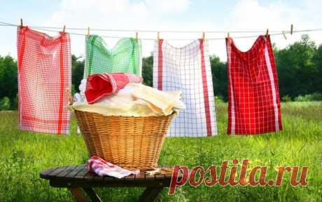 Как вывести пятна на кухонных полотенцах с помощью микроволновки