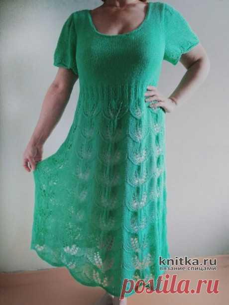 Ажурное женское платье связанное на спицах. Схема и описание.,  Вязание для женщин