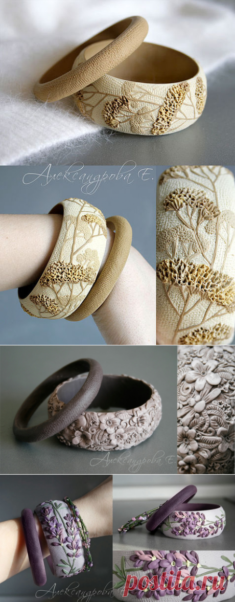 Браслеты ручной работы из полимерной глины.
