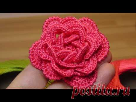 How to connect a volume ROSE by a hook - crochet flowers the roses