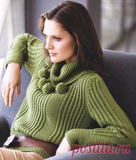 GREEN SWEATER a pattern from platochny knitting and a patent elastic band