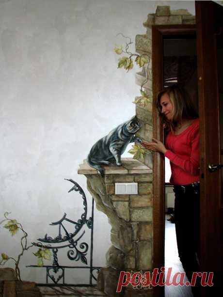 Объемная роспись стен Балашиха кот
