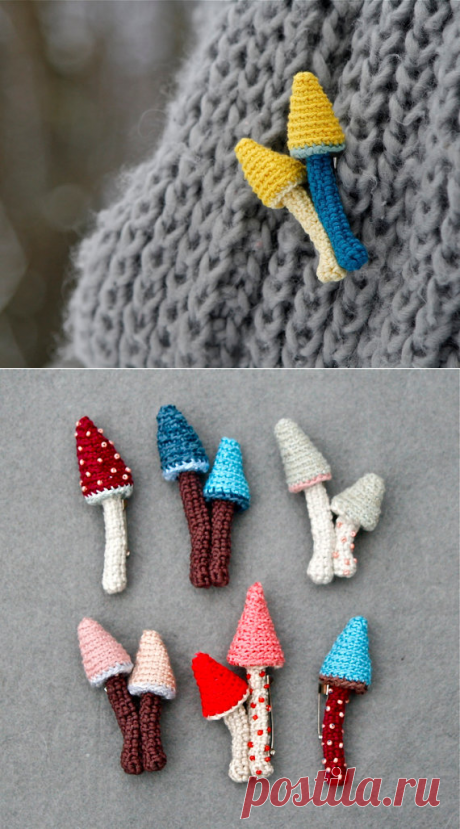 Whimsical crochet pin mushroom brooch cute jewelry