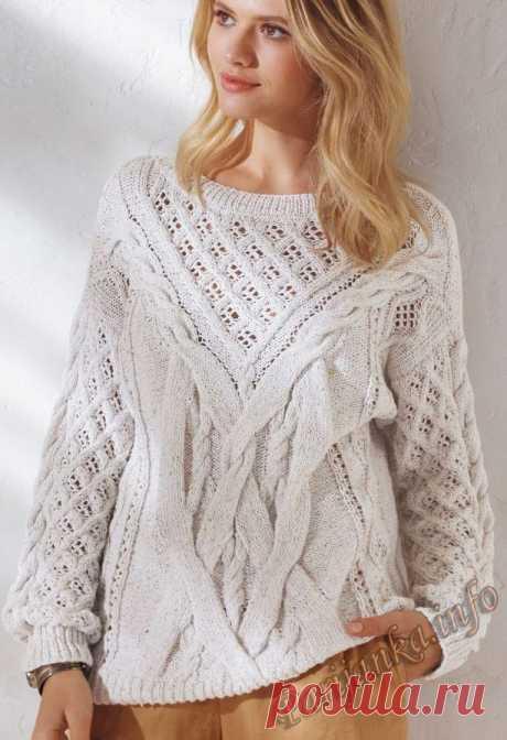 "Белый пуловер спицами ""Мечта"""