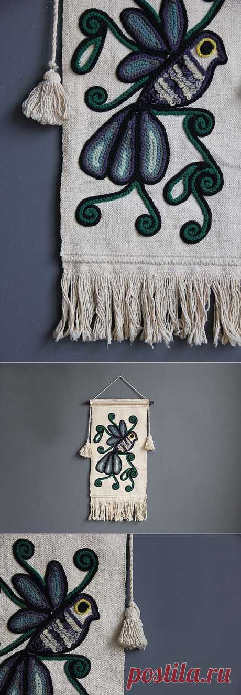 Large Bird Textile Art Wall - ручное ткачество