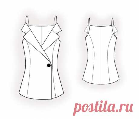 Blouse With Collar  - Sewing Pattern #4509 Made-to-measure sewing pattern from Lekala with free online download. Fitted, Princess seams, Shoulder straps, Buttoned, V neck, Notched collar, No sleeves, No pockets