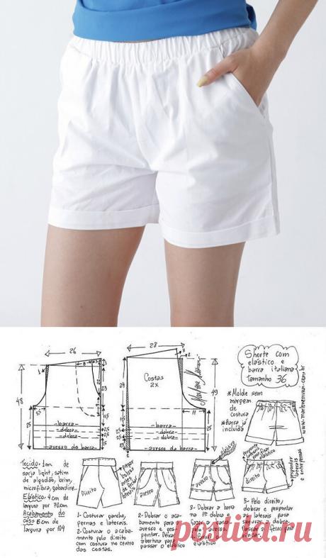 Выкройка женских шорт на резинке на все размеры (Шитье и крой) — Журнал Вдохновение Рукодельницы.Размеры 36-58