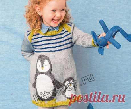 Вязаное платье с пингвинами для девочки - Хитсовет Вязание спицами для девочки красивого платья с пингвинами со схемами и пошаговым бесплатным описанием.