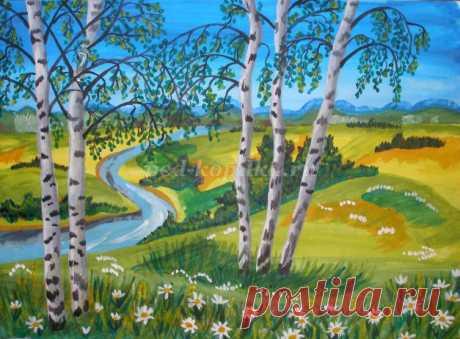 Рисование гуашью летнего пейзажа для детей от 10 лет поэтапно