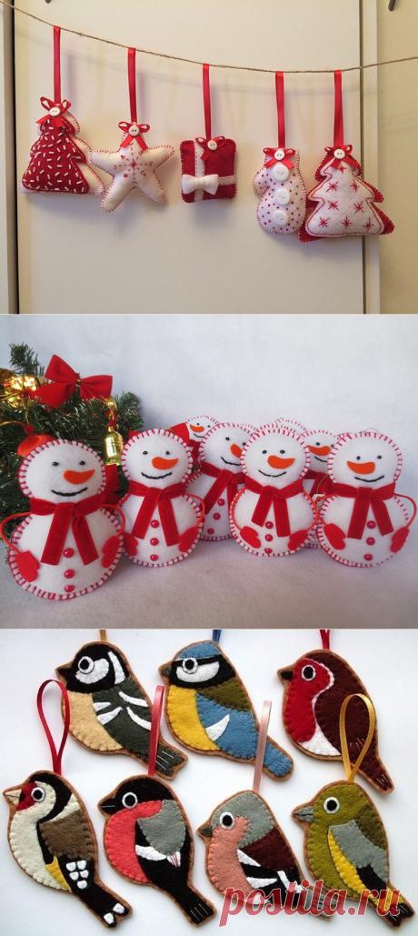 ✂ Новогодние выкройки для игрушек из фетра: идеи, фото, шаблоны, советы