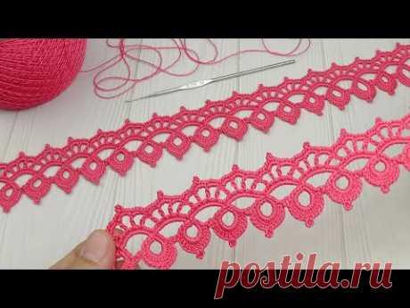 Ажурная КАЙМА ленточное кружево вязание крючком мастер-класс Easy to Crochet Lace Ribbon