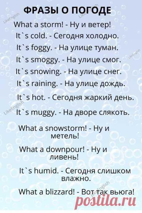 Фразы о погоде на английском языке с переводом на русский.