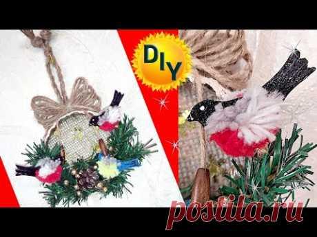 Новогодняя игрушка из мешковины и джута с птицами. DIY/рукоделие