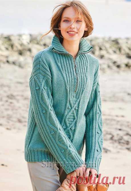 Пуловер с миксом узоров и застежкой-молнией на воротнике — Shpulya.com - схемы с описанием для вязания спицами и крючком