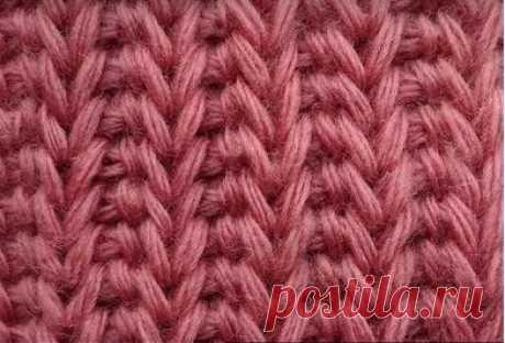 Тунисское вязание - Тунисские узоры - Косой ажурный узор, имитация резинки, вертикальные косички – Узор 46