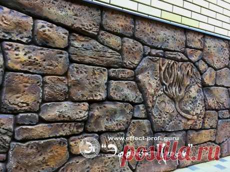 Вариант отделки стен под сухую кладку с окаменелостями для вас!