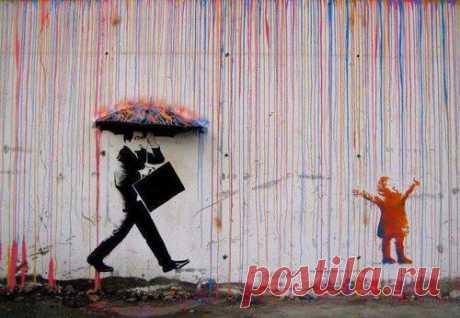 Интересный взгляд художника на разницу между взрослыми и детьми. Талантливое граффити из Норвегии