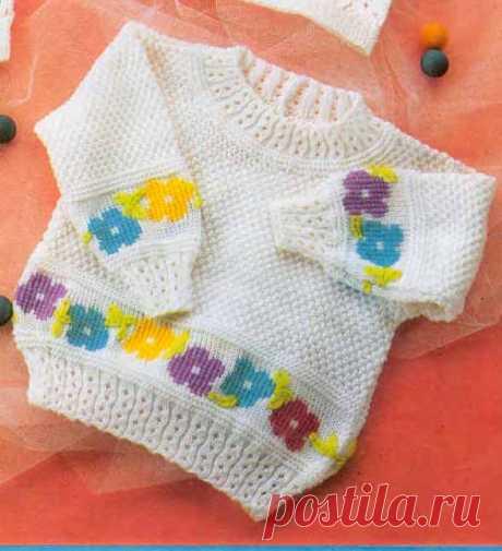 Пуловер для девочки от 0 до 3 лет - Для детей до 3 лет - Каталог файлов - Вязание для детей
