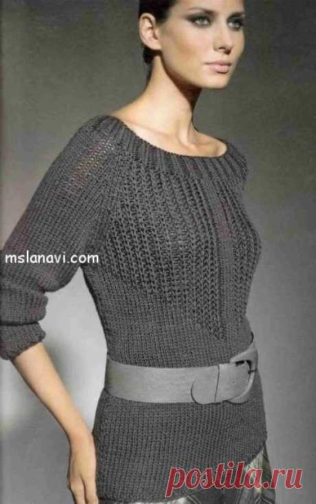 Серый пуловер от Lana Grossa