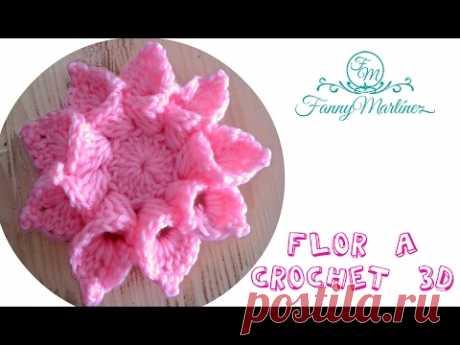 """Flor a crochet 3D bien fácil paso a paso """"Flowers Crochet"""""""