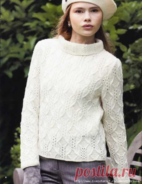 Белый свитер с красивым узором