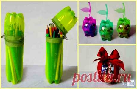 10 creative ideas of a reuse of plastic bottles. Superuseful features for the house and a family!