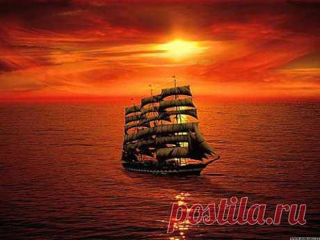 Парусный корабль на закате дня