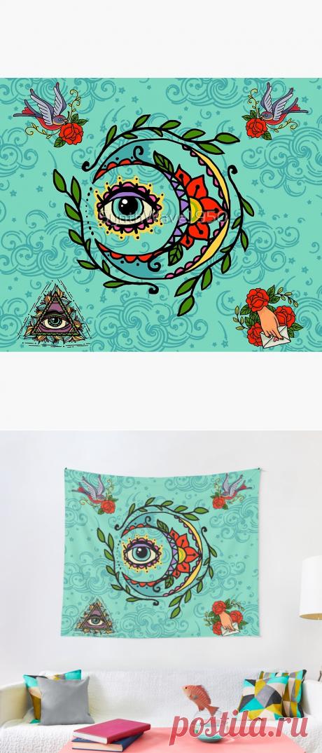 Sun God & Moon #3: Old school tattoo Tapestry
