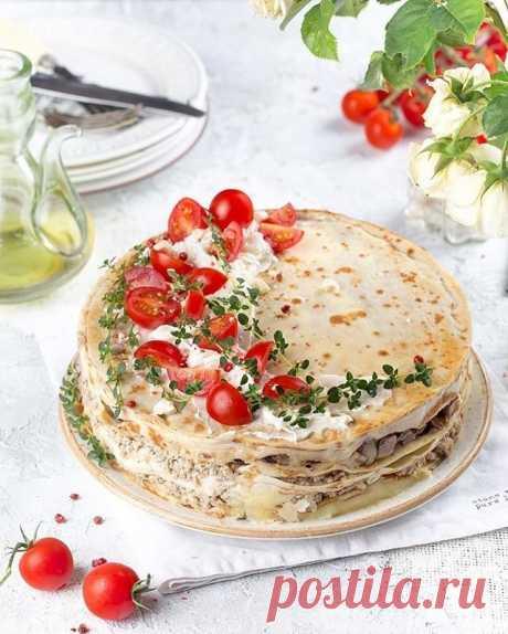 Блинный торт с курино-грибной начинкой — Sloosh – кулинарные рецепты