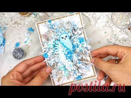 НОВОГОДНЯЯ ОТКРЫТКА с морозной совушкой своими руками/ Скрапбукинг /Christmas handmade card /scrap