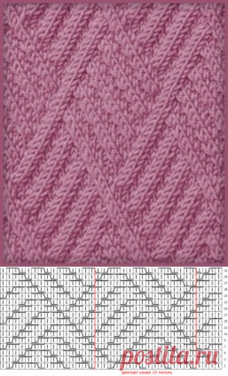 диагонали в ромбх | каталог вязаных спицами узоров
