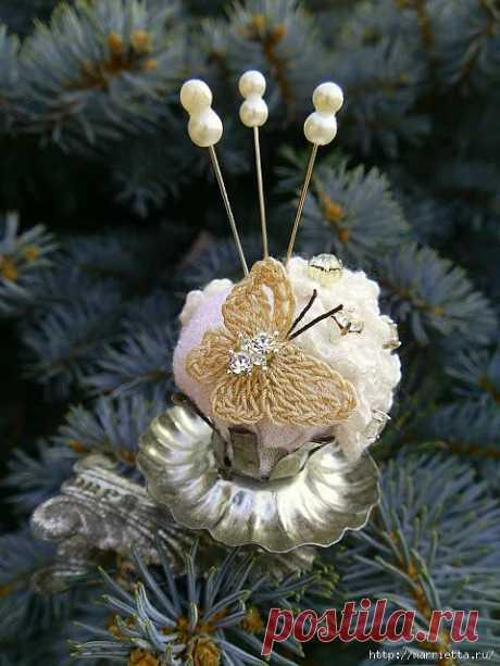 Винтажная бабочка и цветы крючком. Vintage Crochet Flowers and Butterflies