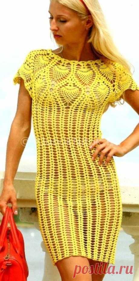 Пляжное платье | Вязание для женщин | Вязание спицами и крючком. Схемы вязания.