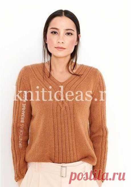 Стильный пуловер спицами | | Вязаные       Идеи.