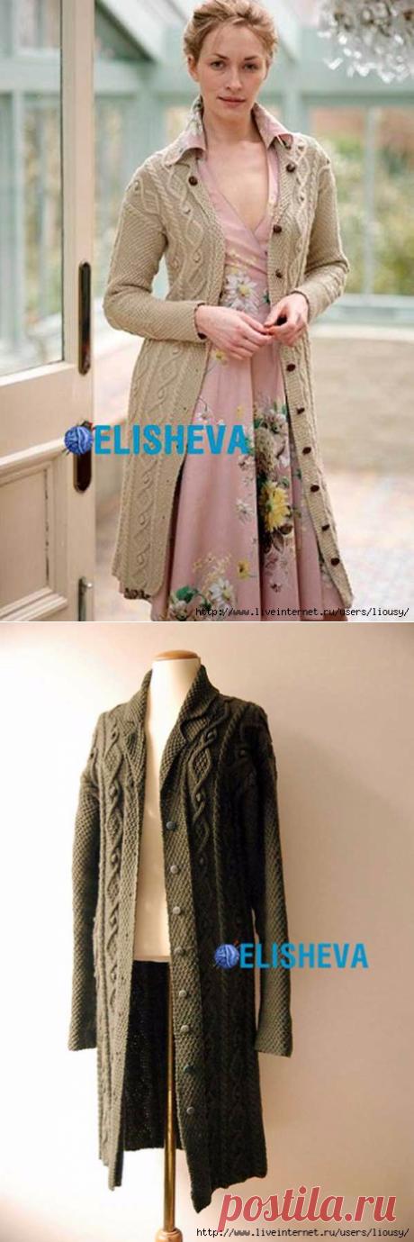 Шикарное пальто с аранскими и жемчужным узорами от Debbie Bliss, связанное спицами