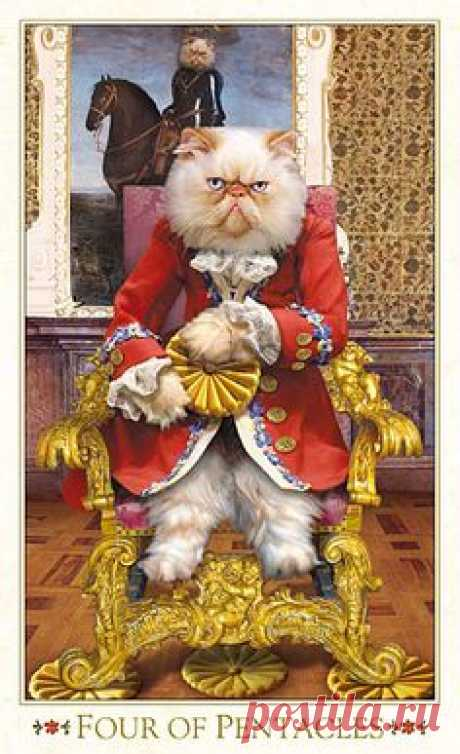 Baroque Bohemian Cats, Baba Studio. This is the revamped version of the four of pentacles. ¡That's one grumpy cat! I have the original version, but I think I might have to acquire this version also.