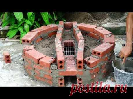 How to make a STOVE by BRICKS and stew Braised Fish - Gaden decoration projects
