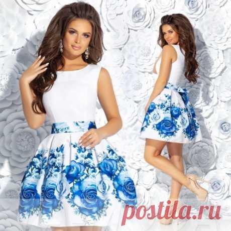 Платье в складку с крупными розами Беби Долл