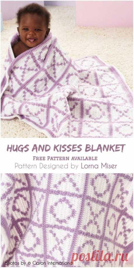 Hugs and Kisses Blanket Pattern #crochet #freecrochetpattern #crochetforchildren #yarn #caronyarn #stitch #crochetlove #craft #myhobbyiscrochet